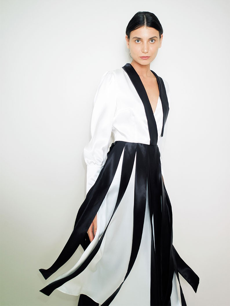 Bicolor Silk Dress