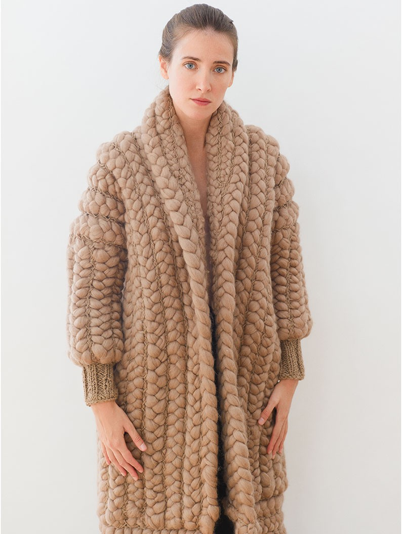 Braided camel coat