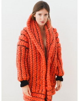 Braided orange coat