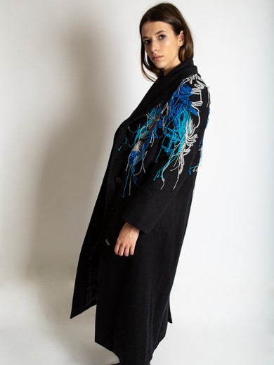 Hand embroidered wool coat