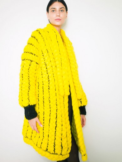Hand Braided Yellow Coat