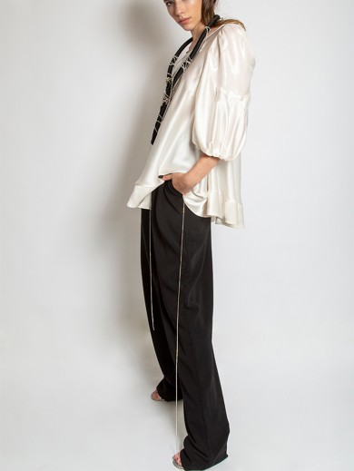 Crystal Embellished Viscose Trousers