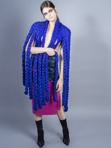 Blue Braided Shawl