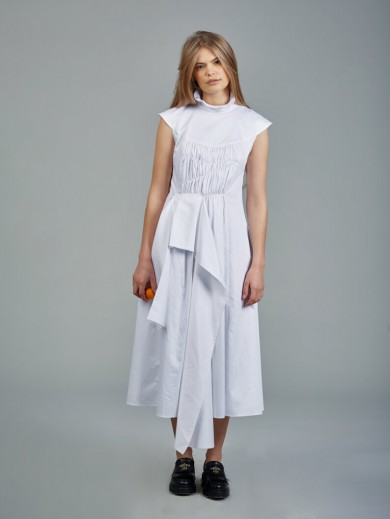 Cotton poplin white dress with detachable sleeves