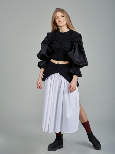Knitted skirt with poplin details