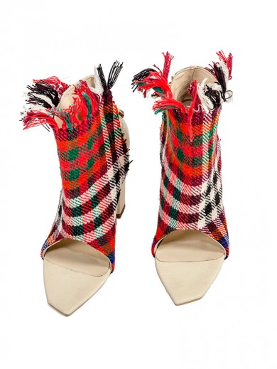 Hand-weaved fabric short shoes